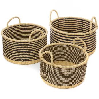 Set of Three Raven Stripe Woven Grass Floor Baskets