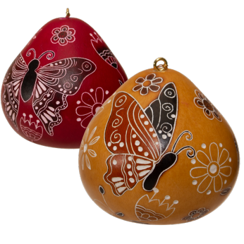 Butterfly Doodle - Gourd Ornament