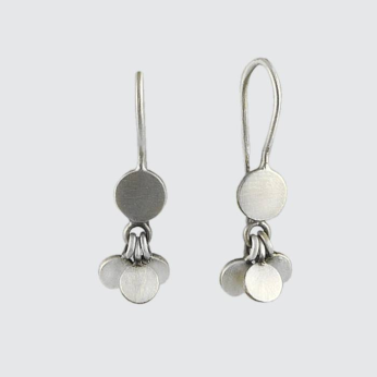 Disc with Tiny Disc Cluster Drop Earrings