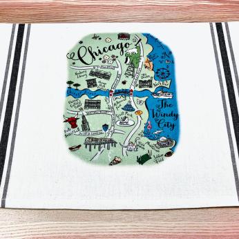 Illustrated Map Design Tea Towels - Mid West United States