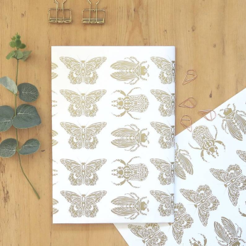 Entomology gold foil wrapping paper.Luxury gift wrap