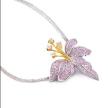 Pink crystal flower sterling silver necklace