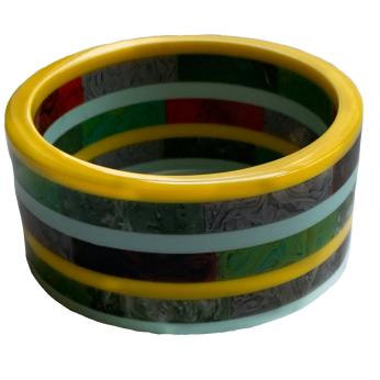 Aqua Yellow Marble Stripe Cuff