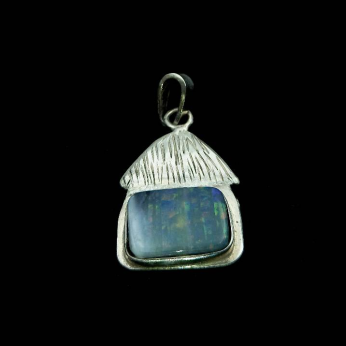 Set of two caribbean cottage pendants with natural black opals