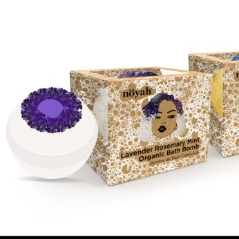Chakra Stone Bath Bombs: Tobacco Leave & Amber; Flower Child; Lavender Rosemary Mint
