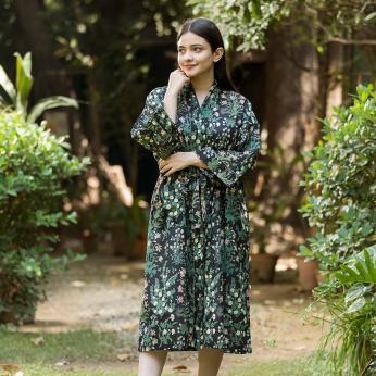 Garden Black Kimono