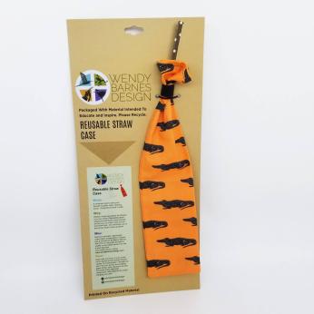 Alligator Reusable Straw Case - Orange