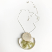 Botanical MD Half Moon Moss Pendant w/ Metal Disk Accents