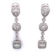 Baguette and Round Diamond Halo Drop Earring