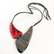 Up-Cycled Dyed Horn 2 Plaque Necklace